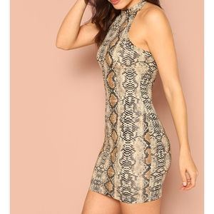 MBM Unlimited Dresses - Snakeskin Print Halter Bodycon Mini Dress